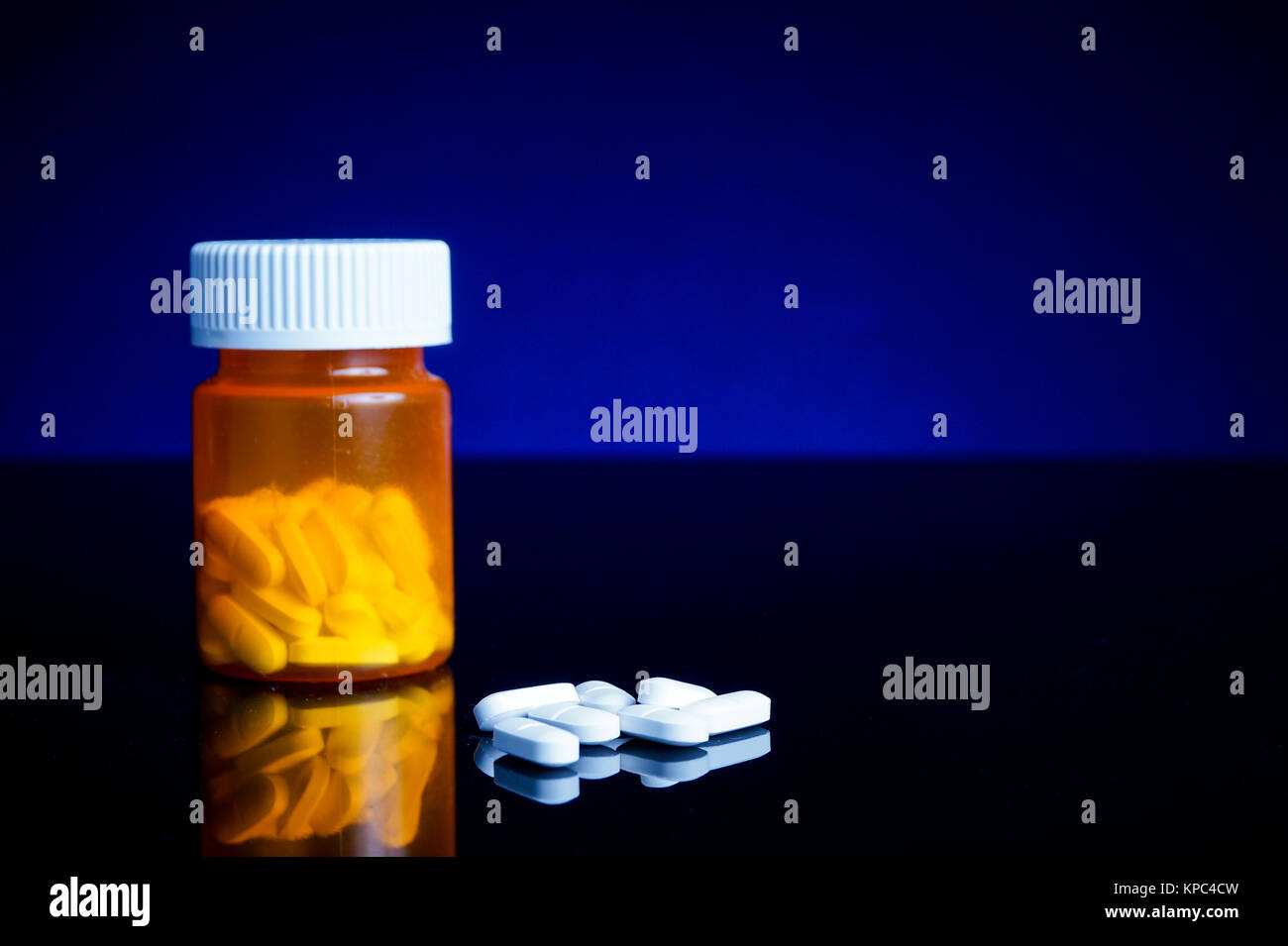 medicin, tablets and pillbottle - Stock Image
