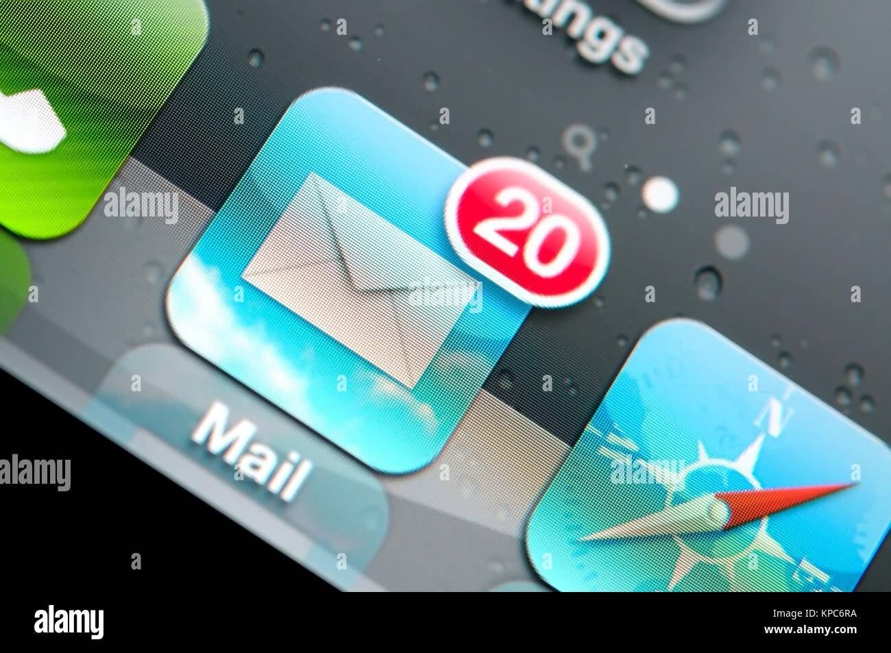 Macro shot of email icon on lcd display. - Stock Image