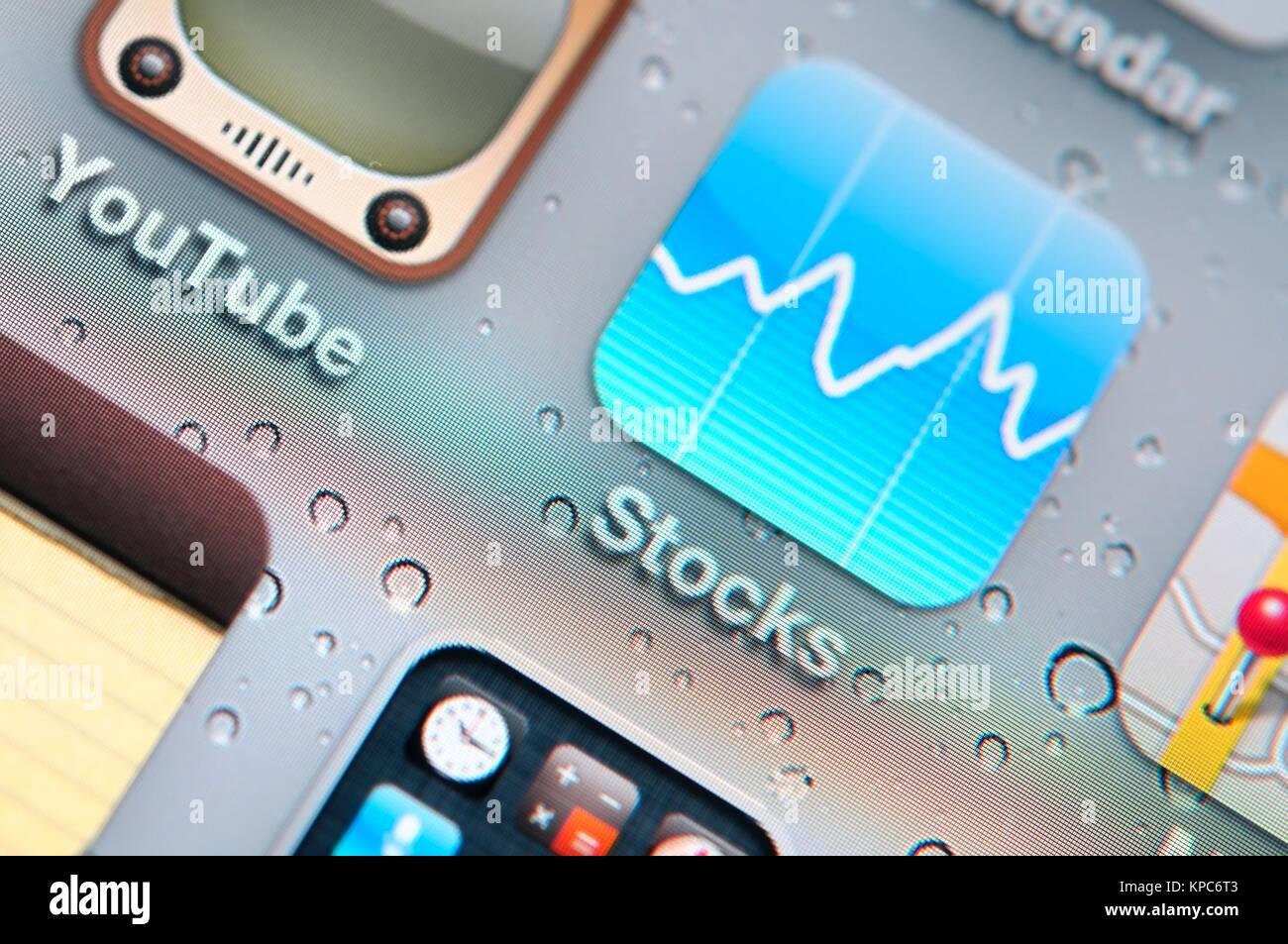 Macro shot of stock icon on lcd display. - Stock Image