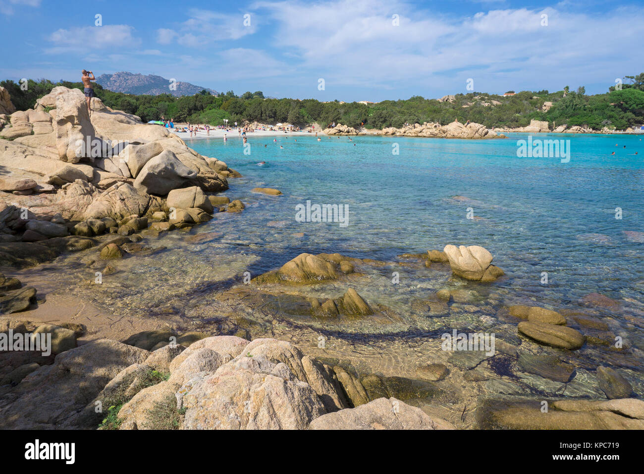 Idyllic beach with turquoise colour sea and granite rocks at Capriccioli, Costa Smeralda, Sardinia, Italy, Mediterranean Stock Photo