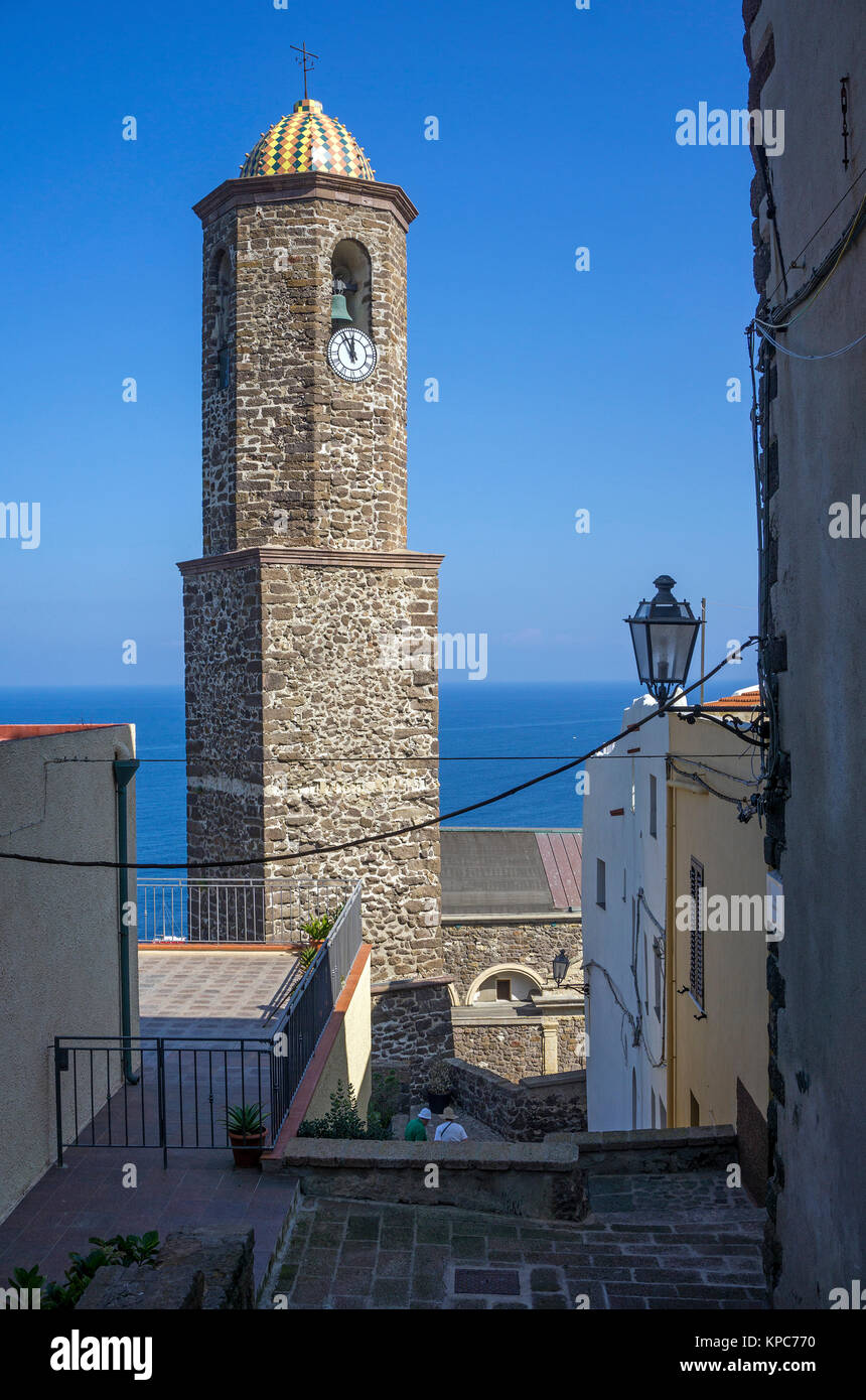 Bell tower of the cathedral San't Antonio Abate at the old town of Castelsardo, Sardinia, Italy, Mediterranean - Stock Image