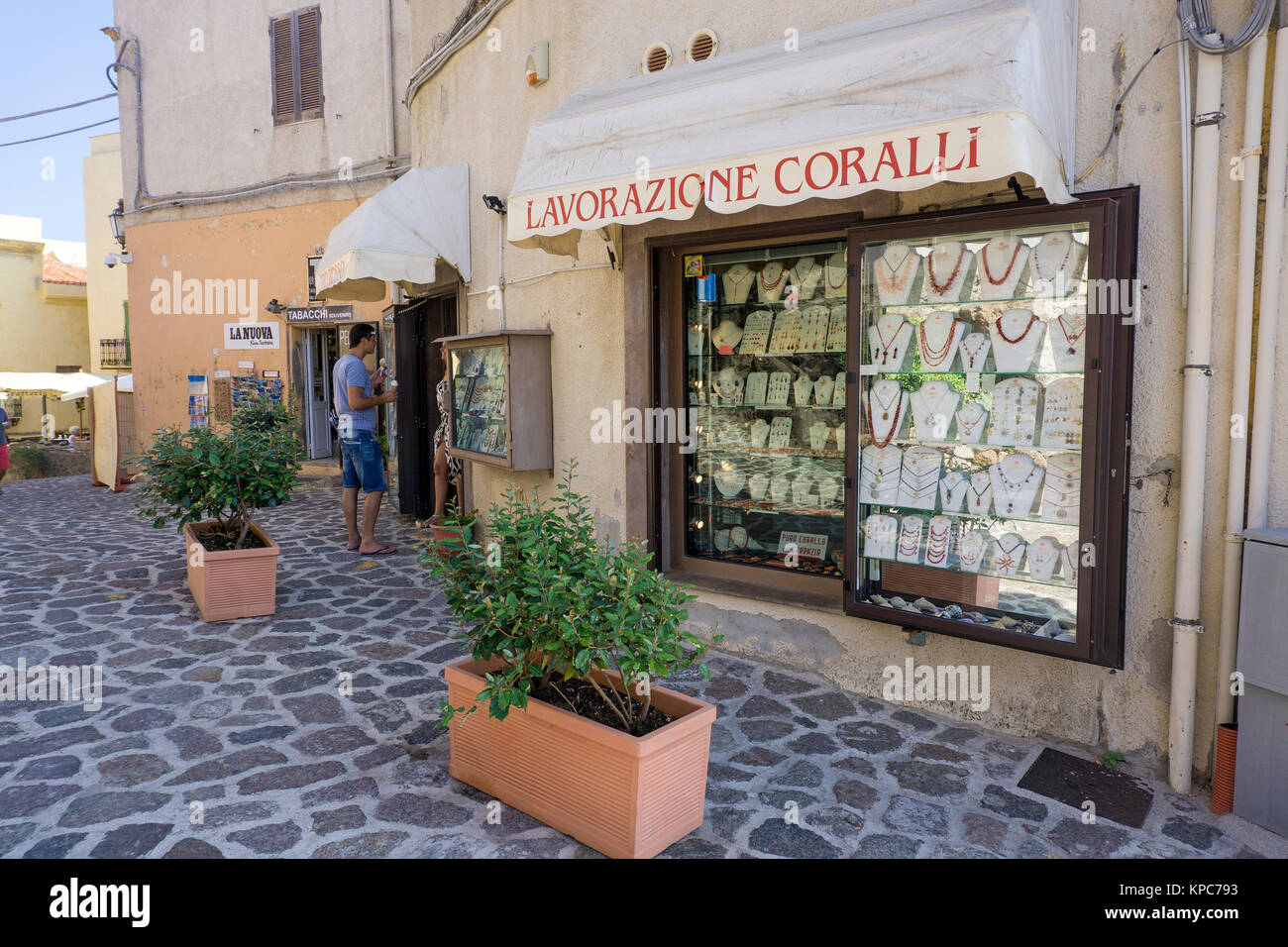 Coralli shop, jewellery made of red corals, jewellery shop at Alghero, Sardinia, Italy, Mediterranean sea, Europe - Stock Image