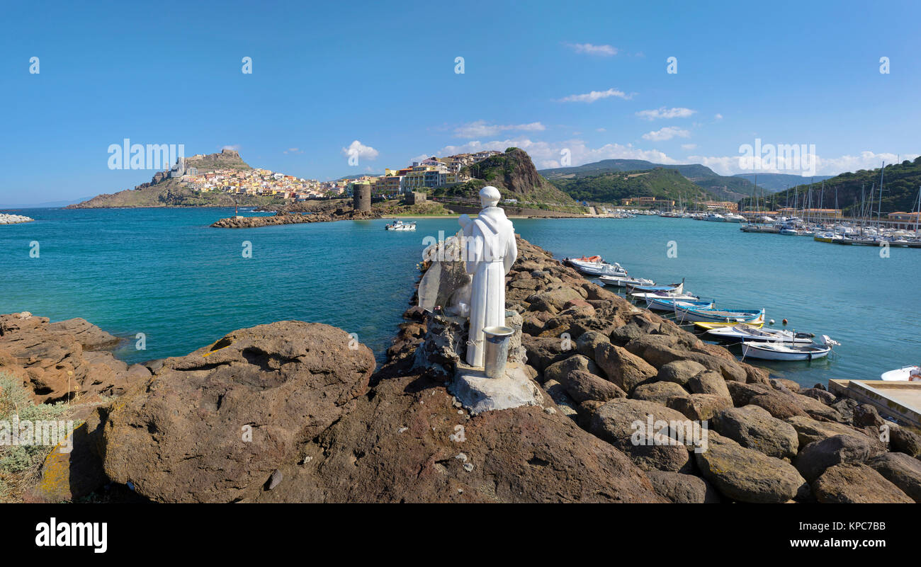 Sailor Patron saint figure at the harbour to Castelsardo, Sardinia, Italy, Mediterranean sea, Europe Stock Photo