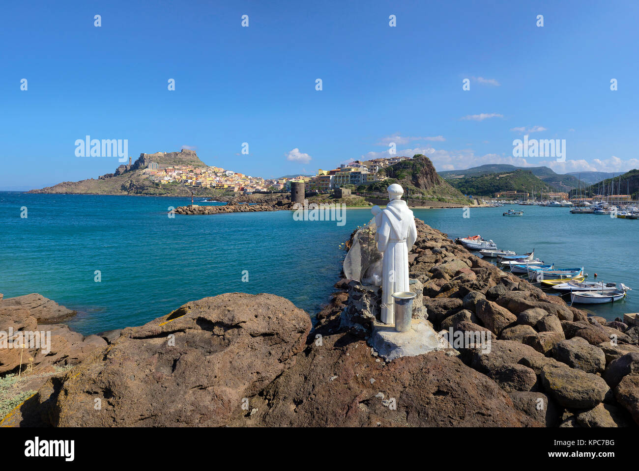 Sailor Patron saint figure at the harbour to Castelsardo, Sardinia, Italy, Mediterranean sea, Europe - Stock Image