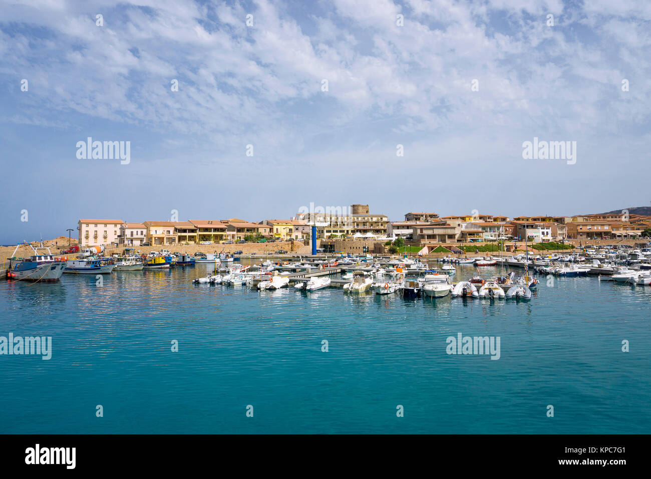 Fishing harbour and marina of Isola Rossa, Olbia-Tempio, Sardinia, Italy, Mediterranean  sea, Europe - Stock Image