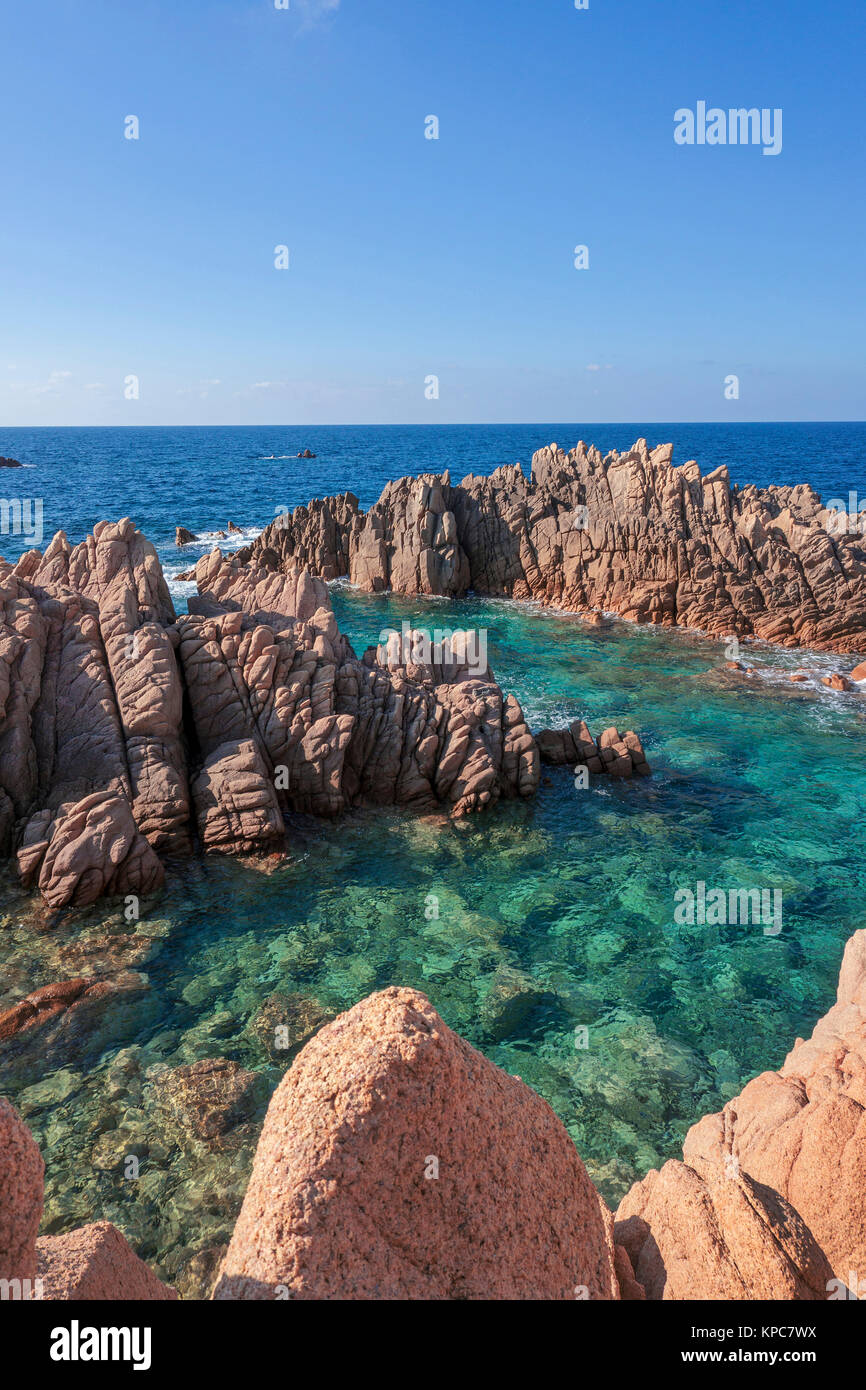 Idyllic rocky coast of Costa Paradiso, Porphyry rocks, Sardinia, Italy, Mediterranean  sea, Europe Stock Photo