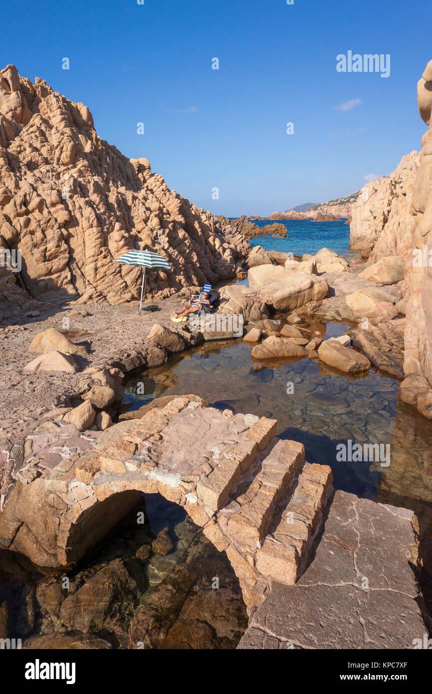 Idyllic bathing beach at rocky coast of Costa Paradiso, Porphyry rocks, Sardinia, Italy, Mediterranean  sea, Europe Stock Photo