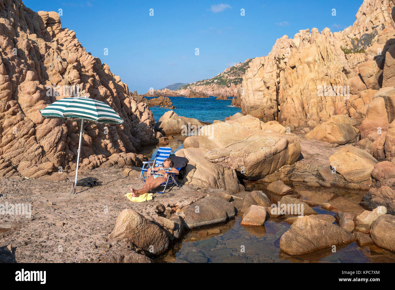 Idyllic bathing beach at rocky coast of Costa Paradiso, Porphyry rocks, Sardinia, Italy, Mediterranean  sea, Europe Stock Photo