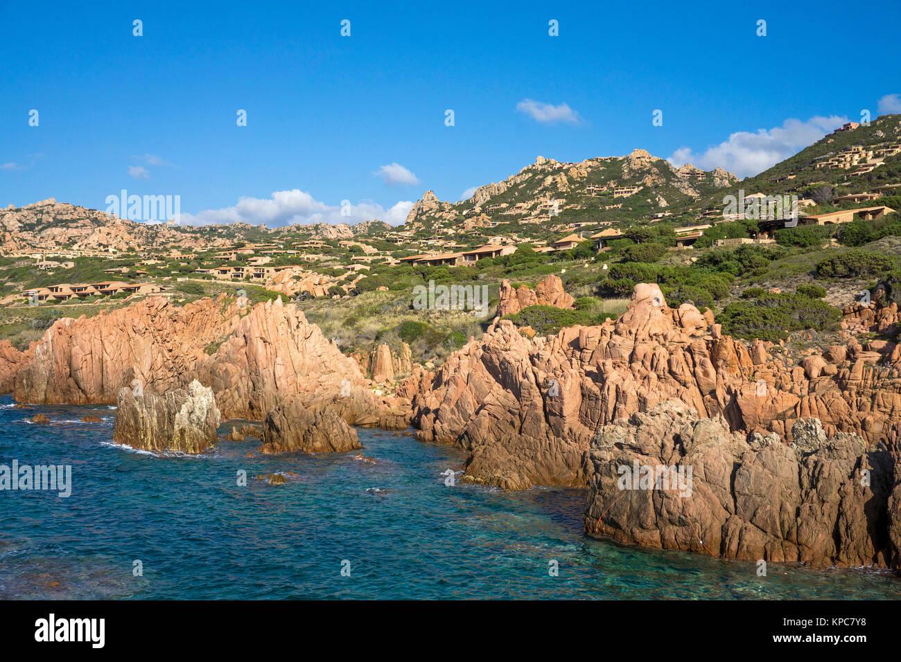 Idyllic rocky coast of Costa Paradiso, Porphyry rocks, Sardinia, Italy, Mediterranean  sea, Europe - Stock Image