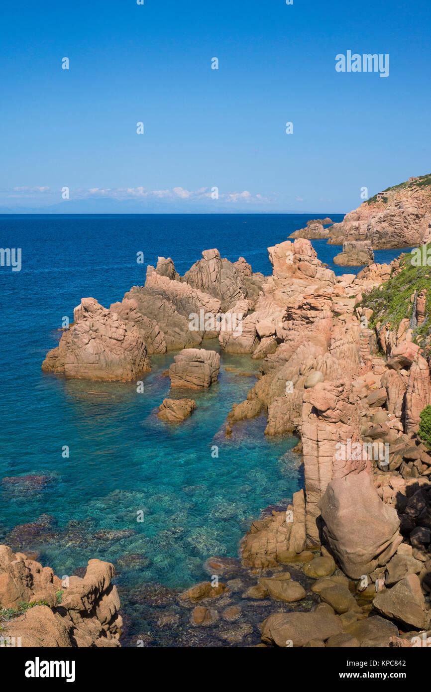 Porphyry rocks, coast landscape at Costa Paradiso, Sardinia, Italy, Mediterranean  sea, Europe Stock Photo