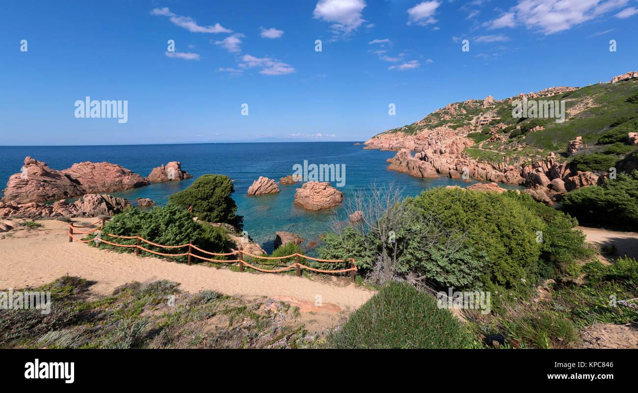 Porphyry rocks, coast landscape at Costa Paradiso, Sardinia, Italy, Mediterranean  sea, Europe - Stock Image