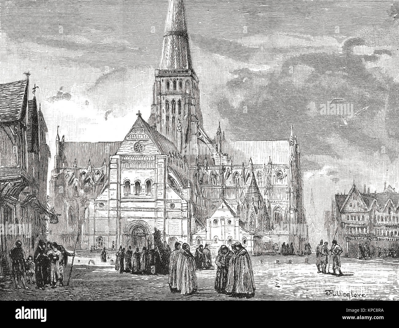 Old St Paul's Cathedral, view from the South West Stock Photo