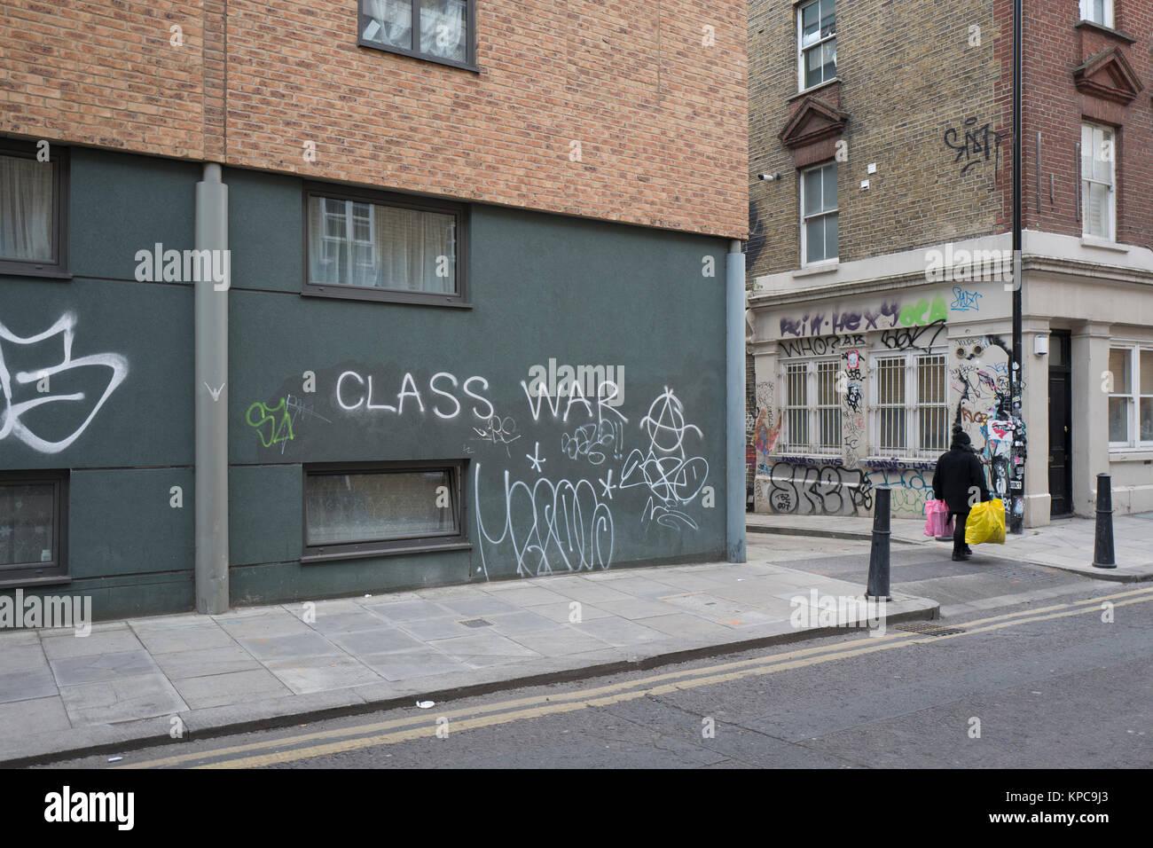 Class War graffiti on Cheshire Street in Spitalfields, near Whitechapel in the East End of London - Stock Image
