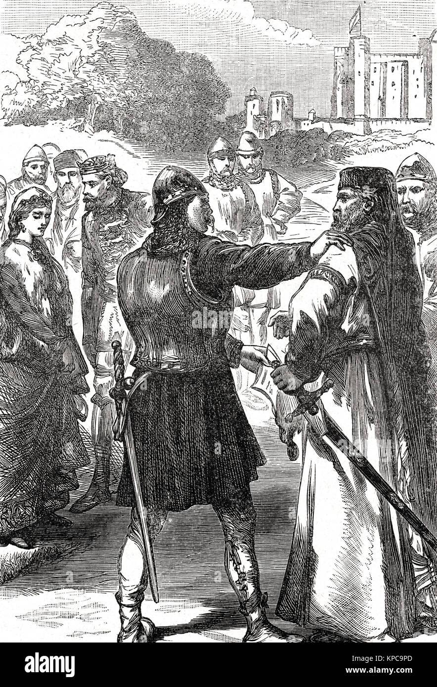 Arrest of Thomas of Woodstock, 1st Duke of Gloucester, leader of the Lords Appellant, tyranny of Richard II, revenge - Stock Image