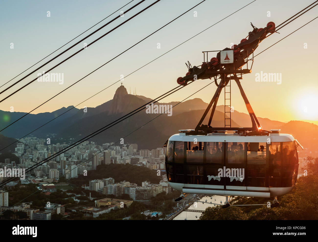 Cable Car to Morro da Urca and Sugarloaf Mountain at sunset, Rio de Janeiro, Brazil Stock Photo