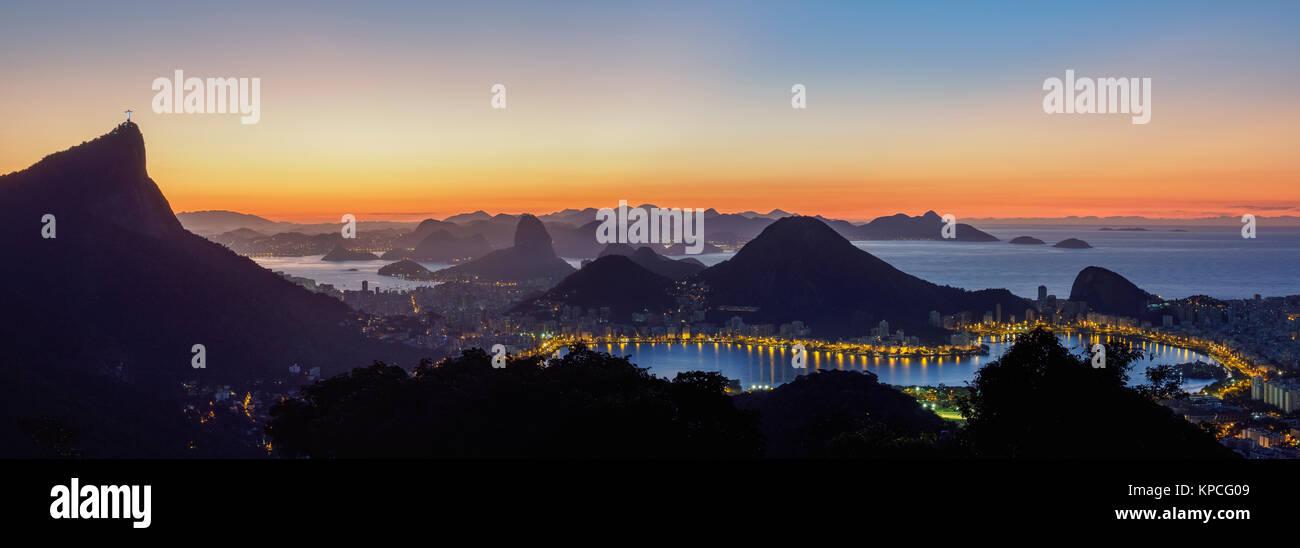 Cityscape from Vista Chinesa at dawn, Rio de Janeiro, Brazil Stock Photo