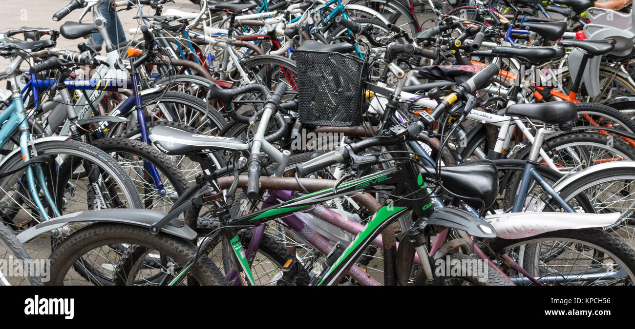 Bicycle racks situated in the centre of York - Stock Image