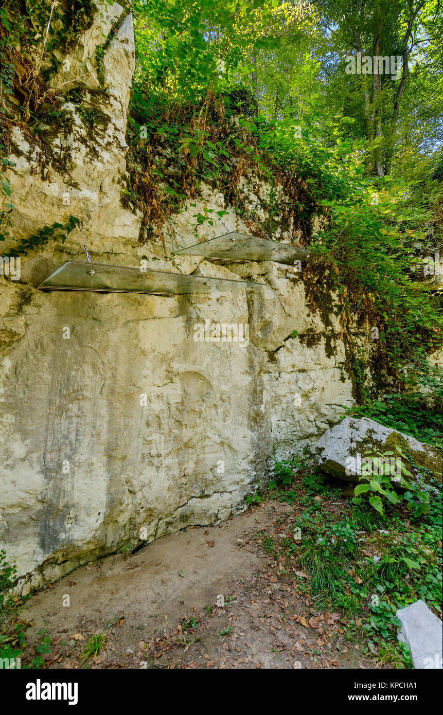 Mithraic temple (Mithraeum II century) situated in chestnut forest above Rozanec, Bela Krajina (White Carniola) - Stock Image