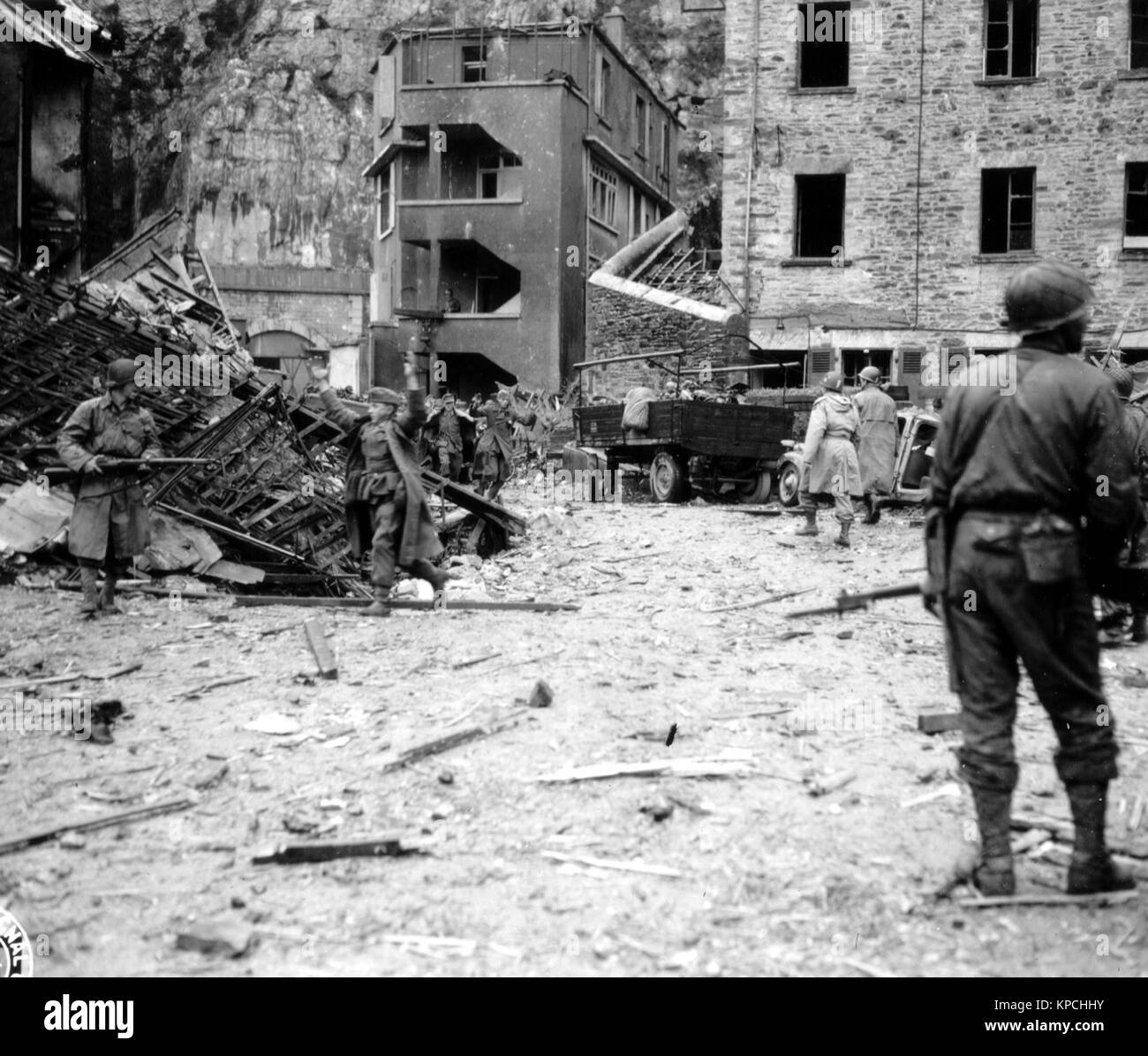 German troops surrender at Cherbourg in France 1944 - Stock Image