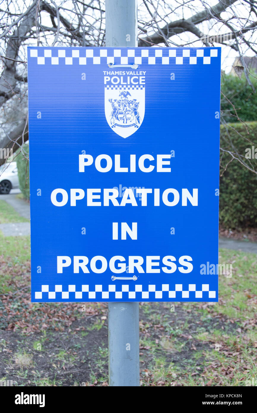 Thames Valley Police's not-so-secret operation in progress sign. - Stock Image