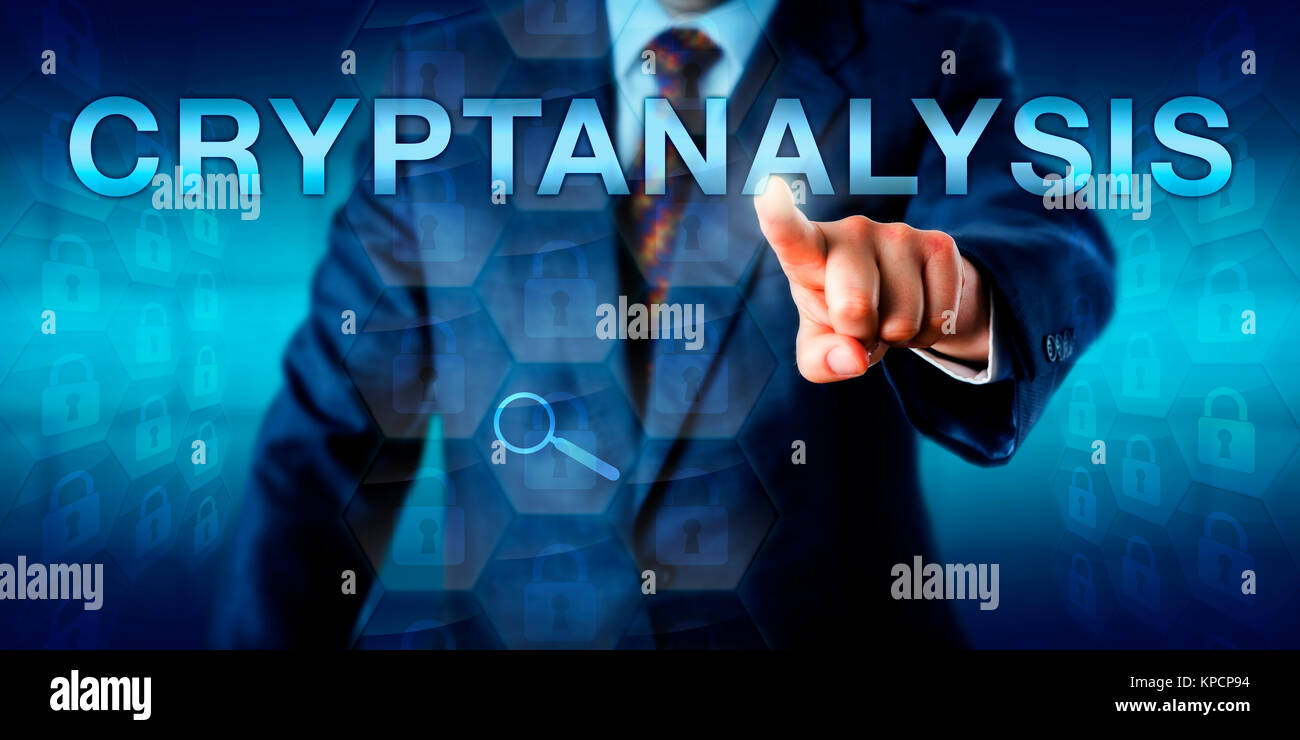 Cryptanalyst Touching CRYPTANALYSIS Onscreen - Stock Image