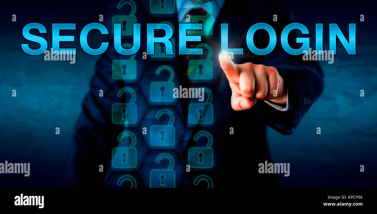 Corporate Client Pressing SECURE LOGIN Onscreen. - Stock Image