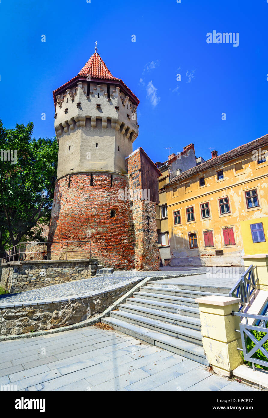 Sibiu, Romania : The famous Tower of the Carpenters - on the Cetatii street in a beautifull day - Stock Image