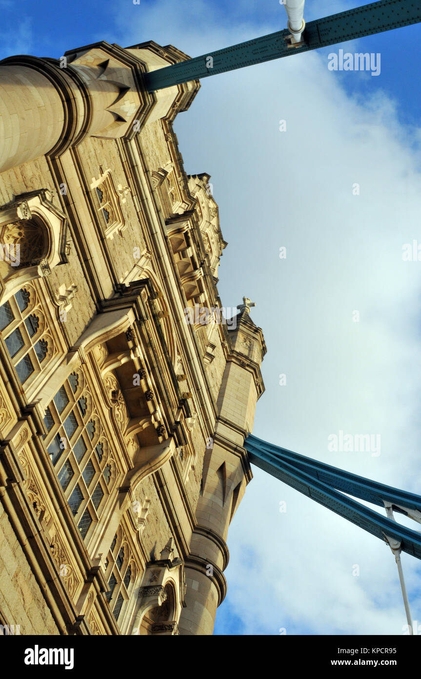 an alternative different creative viewpoint of tower bridge over the river thames in central London. Unusual angle - Stock Image