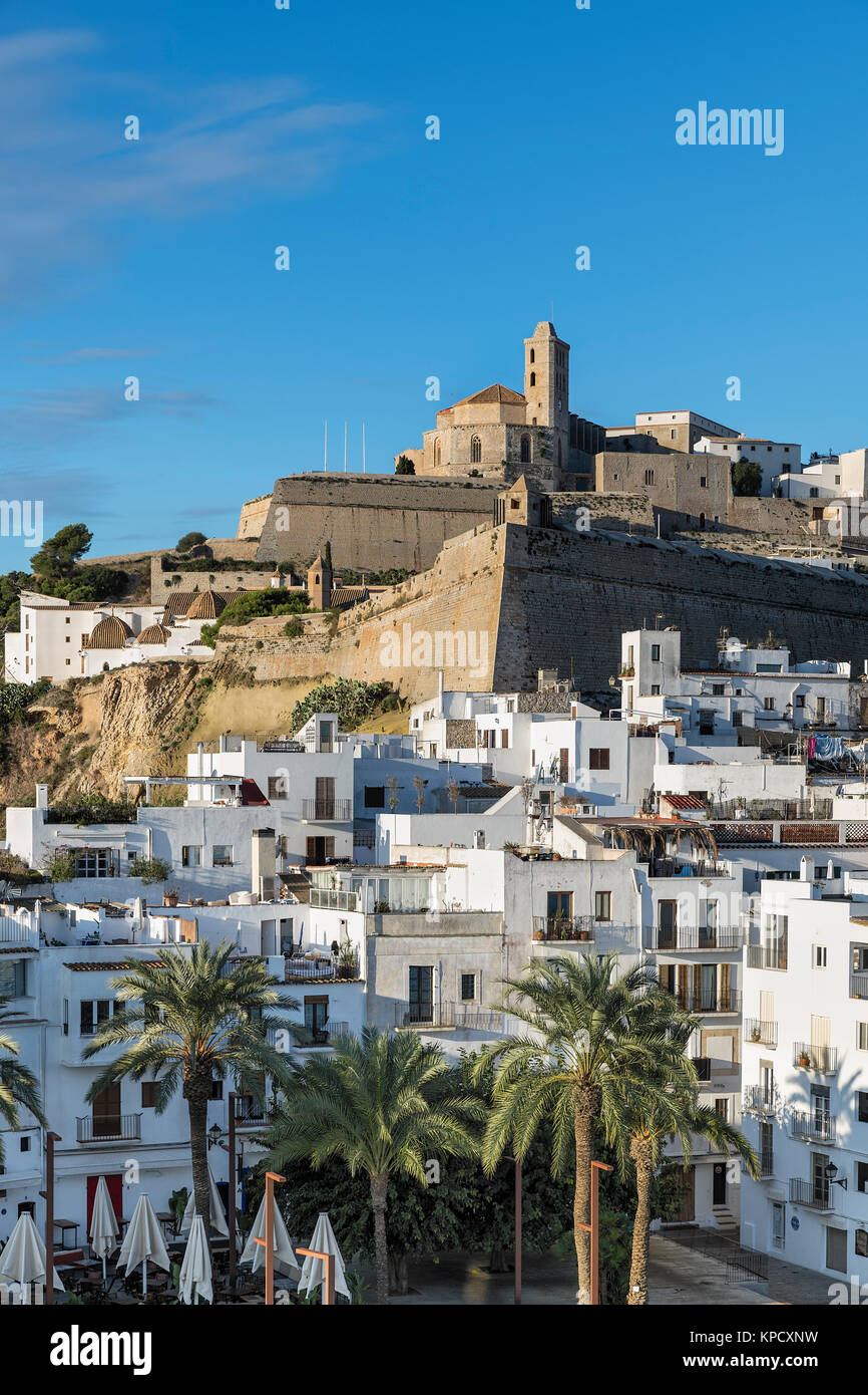 Ibiza Town and the cathedral of Santa Maria d'Eivissa, Ibiza, Balearic Islands, Spain. - Stock Image