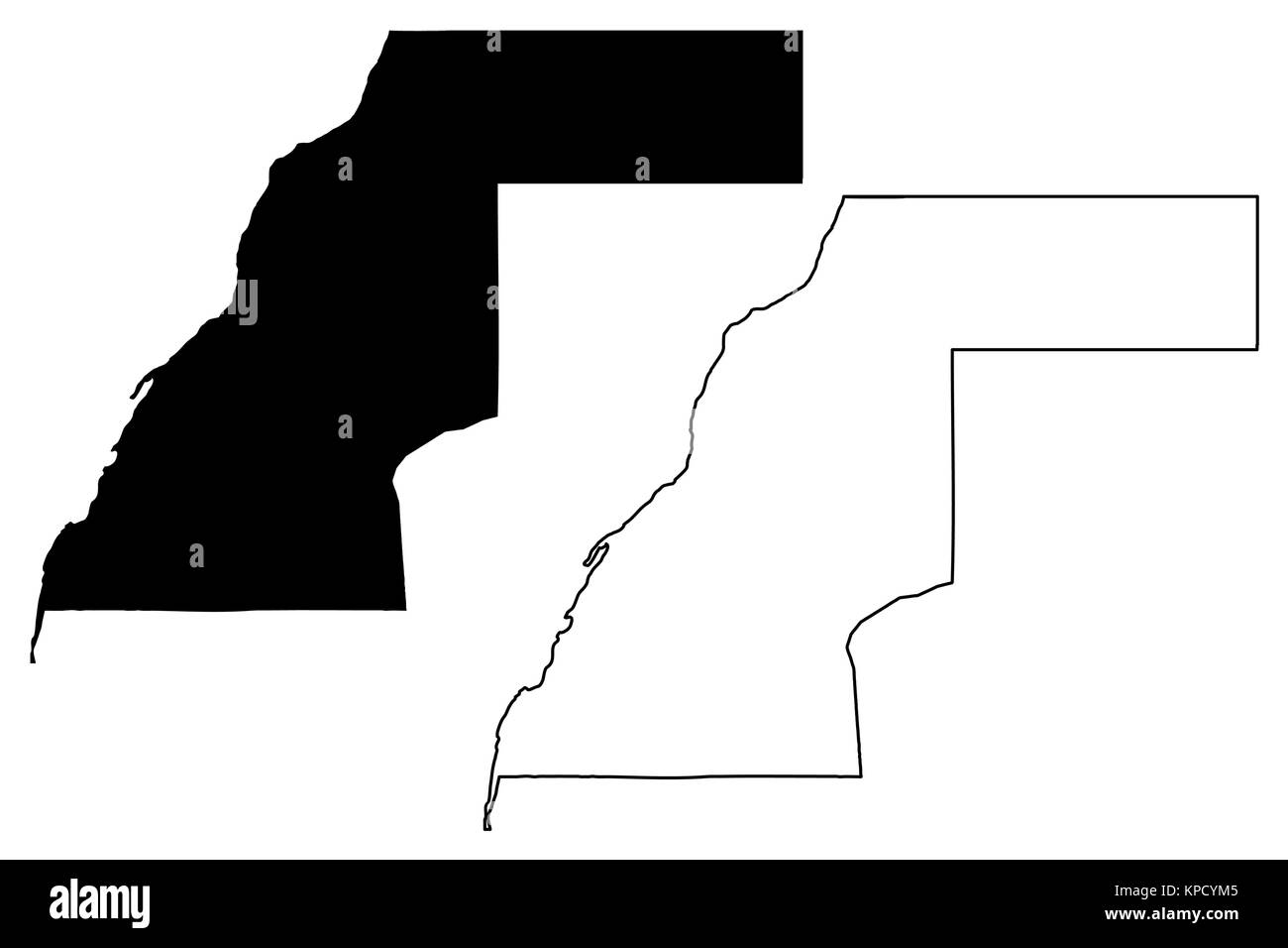 Western Sahara map vector illustration, scribble sketch Sahrawi Arab Democratic Republic - Stock Image