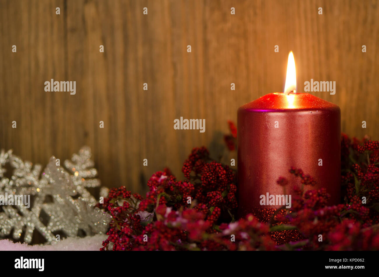 Single At Christmas.Single Candles Christmas Decoration Stock Photo 168701290