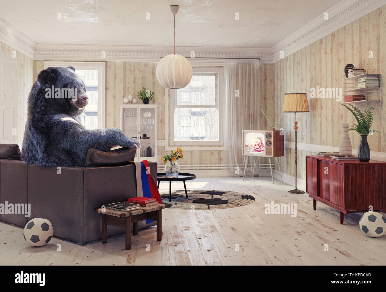The Russian bear relaxing in the room on the sofa, watching the soccer on tv. Creative illustration. 2018 FIFA World - Stock Image