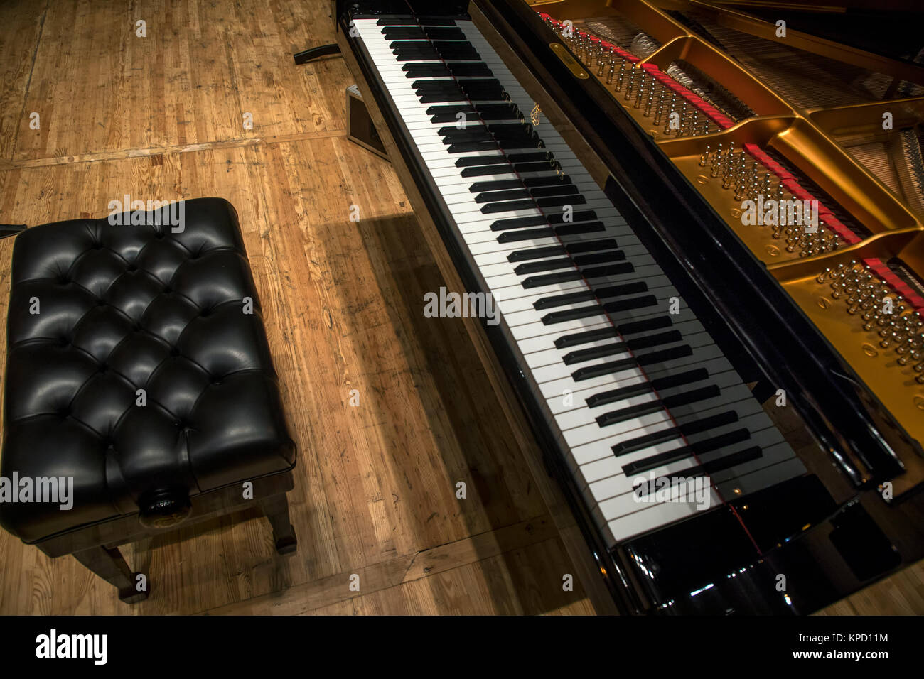View of grand piano at concert stage - Stock Image