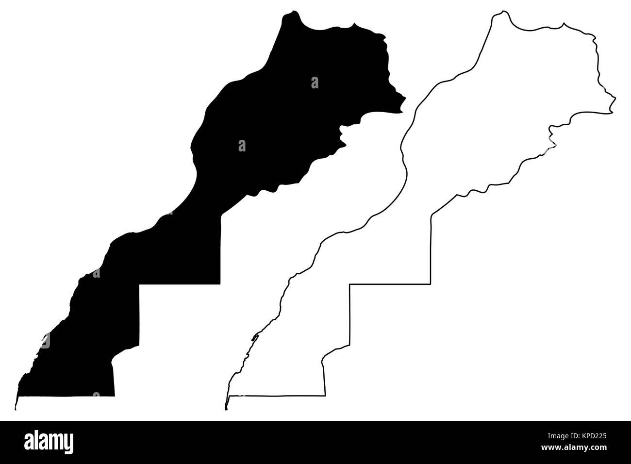 Morocco and Western Sahara map vector illustration, scribble sketch Kingdom of Morocco - Stock Image