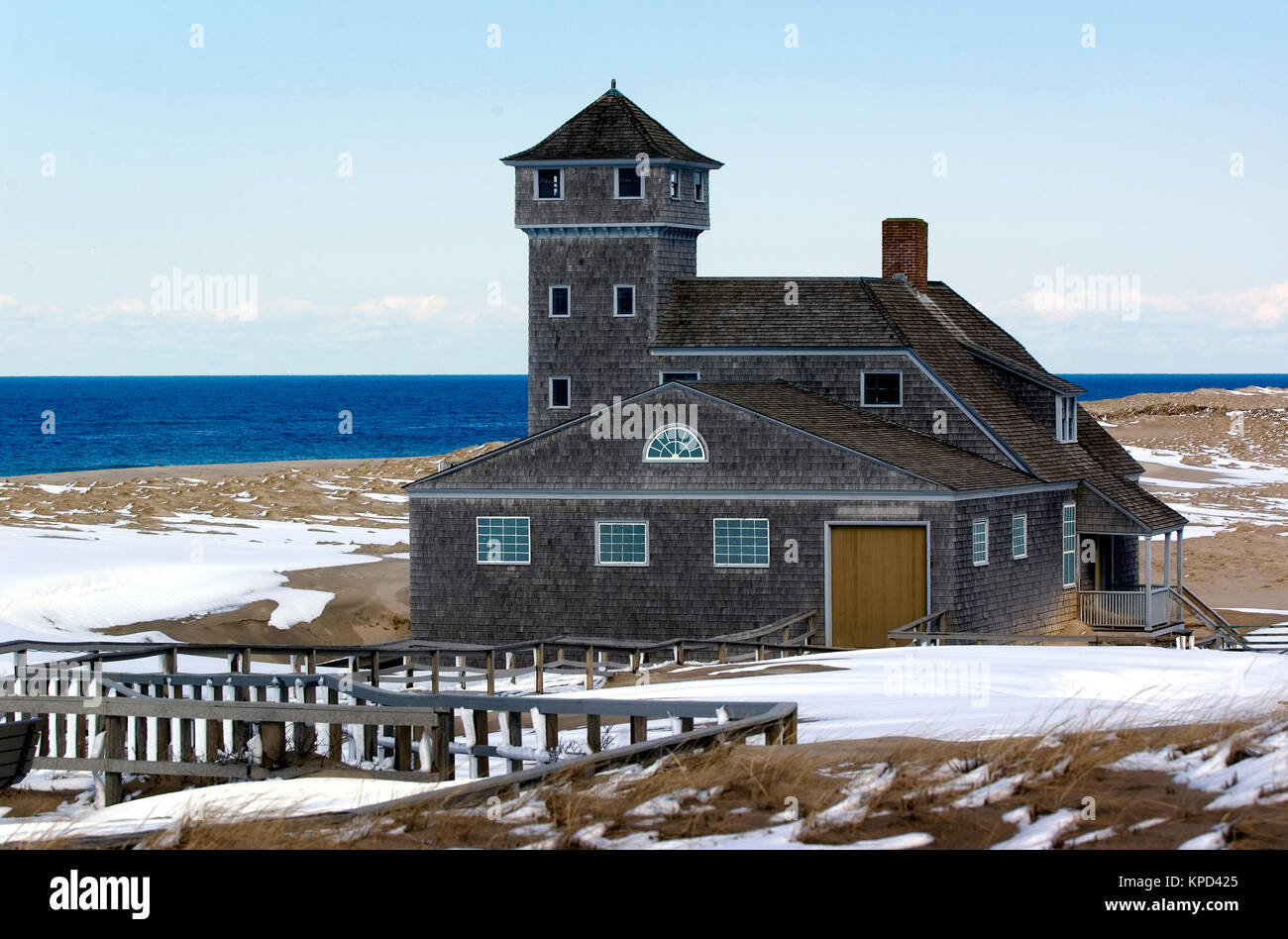 The historic life saving station at Race Point Beach in Provincetown, Massachusetts (Cape Cod National Seashore), - Stock Image