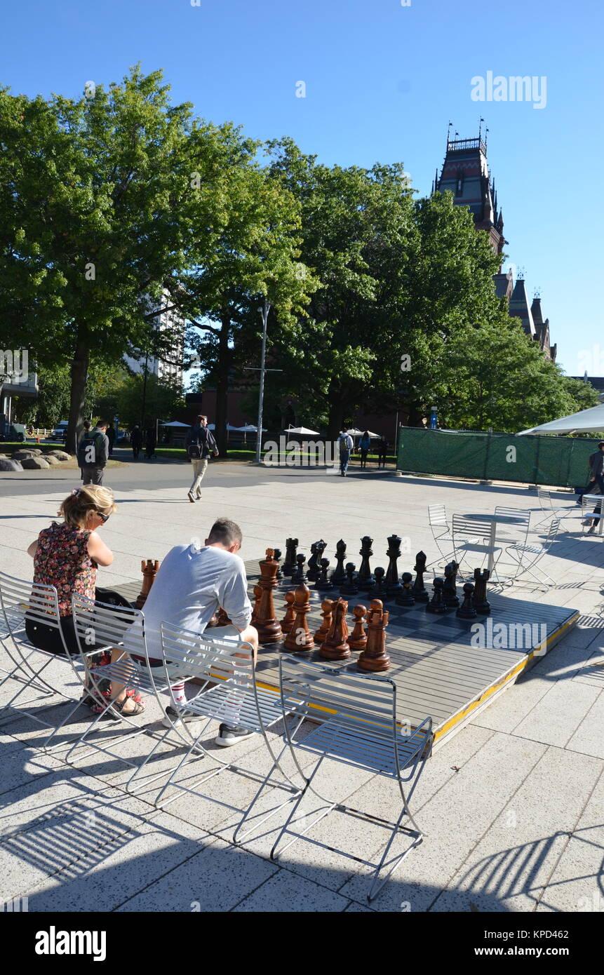 Giant chessboard, The Plaza, Harvard University, Cambridge, Massachusetts, USA - Stock Image