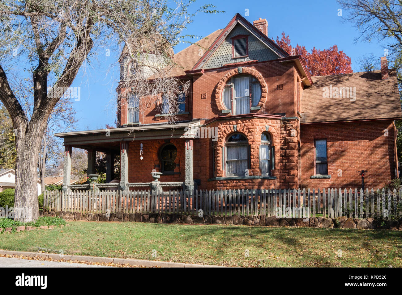 The east side of the first brick home built in Oklahoma Territory, and designed by Joseph Foucart was built for - Stock Image