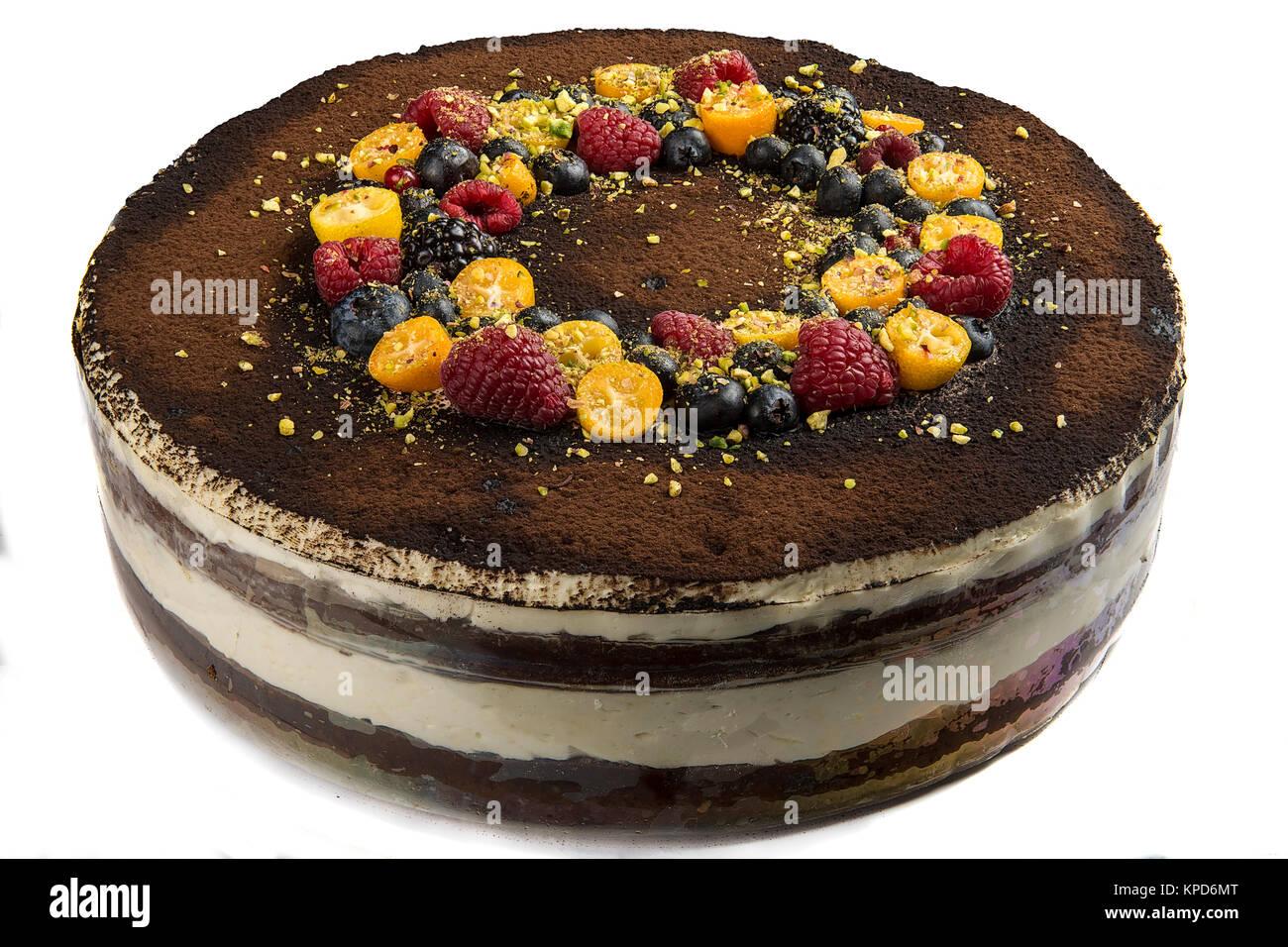 Handmade cake with berries. - Stock Image