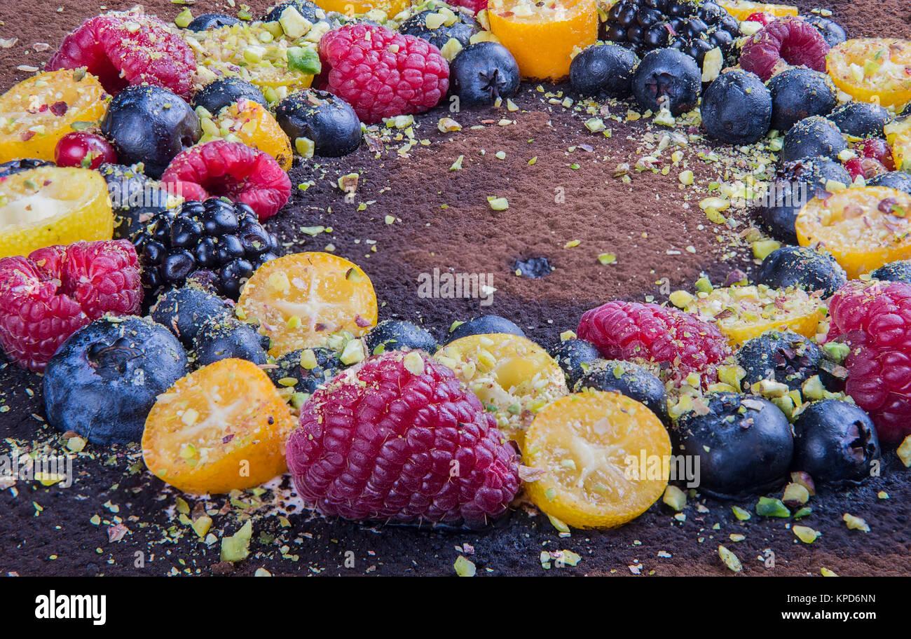 Handmade cake with berries. Stock Photo