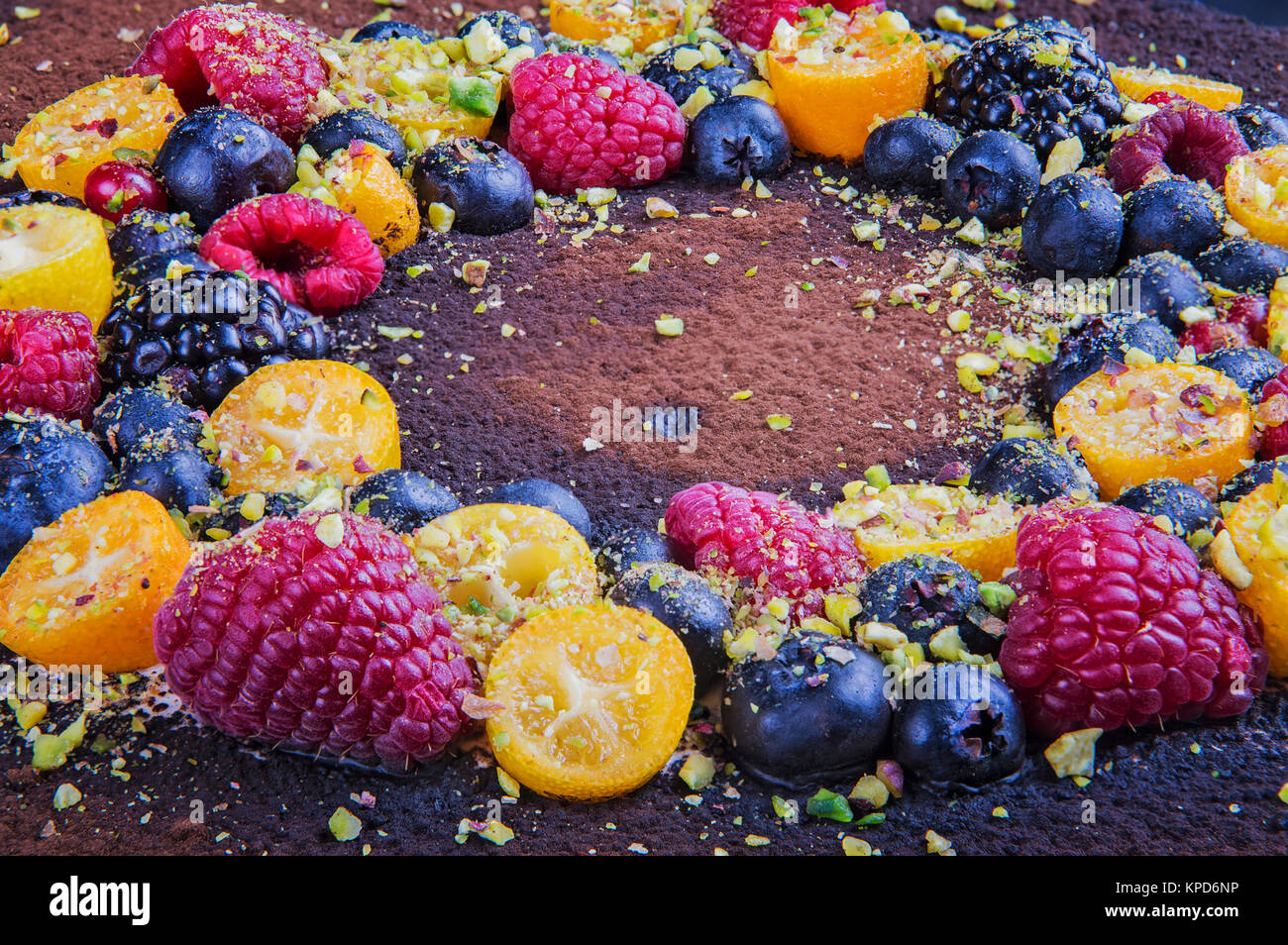 Handmade cake with berries. Stock Photo