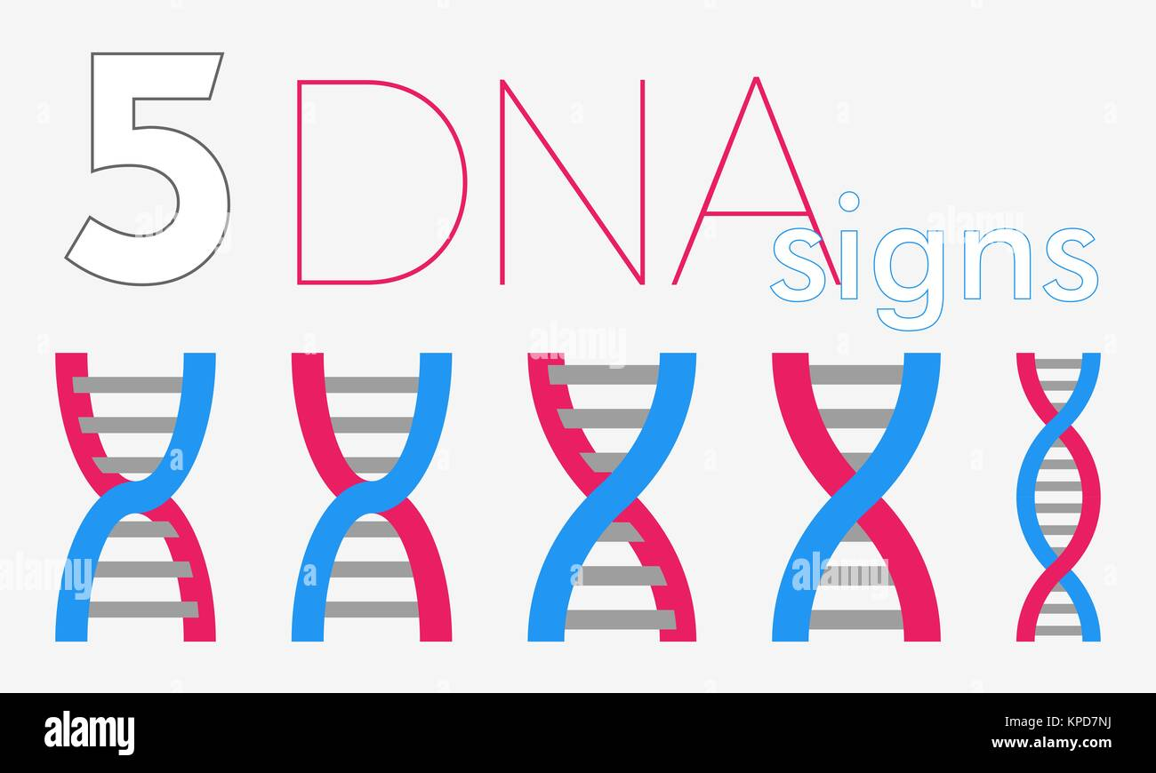 5 DNA flat signs - Stock Image