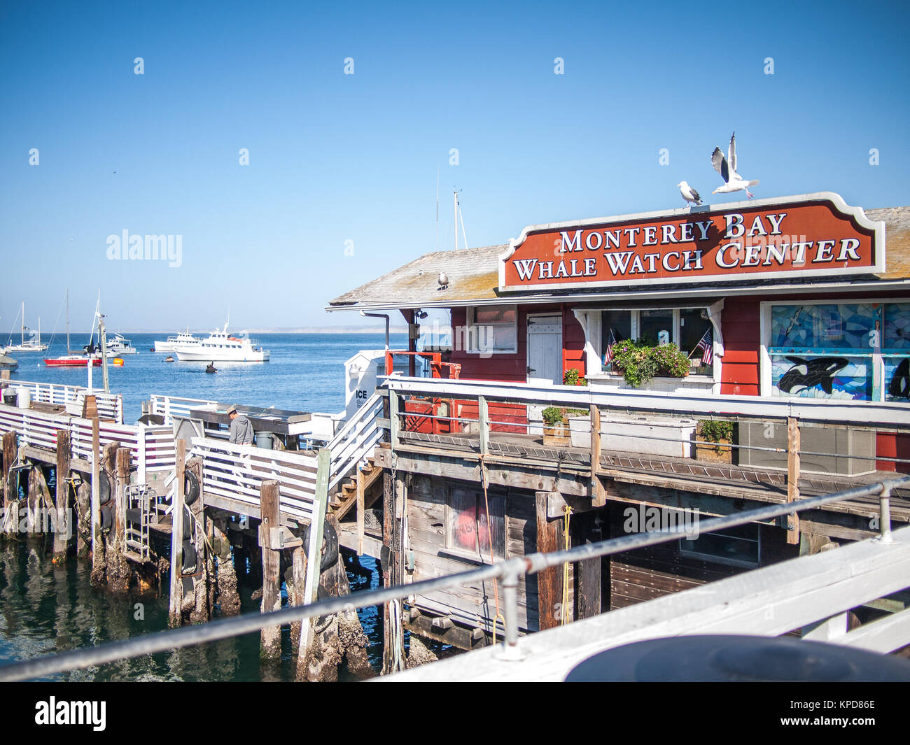 Monterey, USA - October 2, 2013 - View of the Monterey's fisherman's wharf businesses - Stock Image