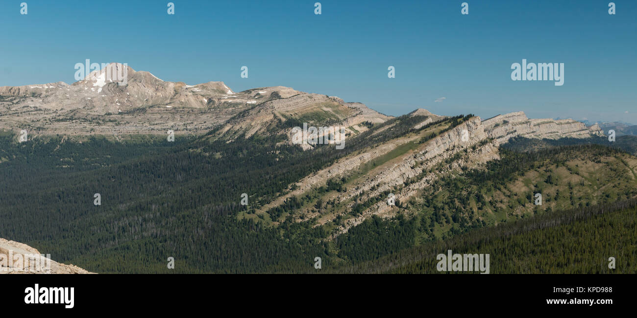 Silvertip Mountain and the Wall Creek Cliffs from Larch Hill Pass in the Bob Marshall Wilderness, Montana - Stock Image