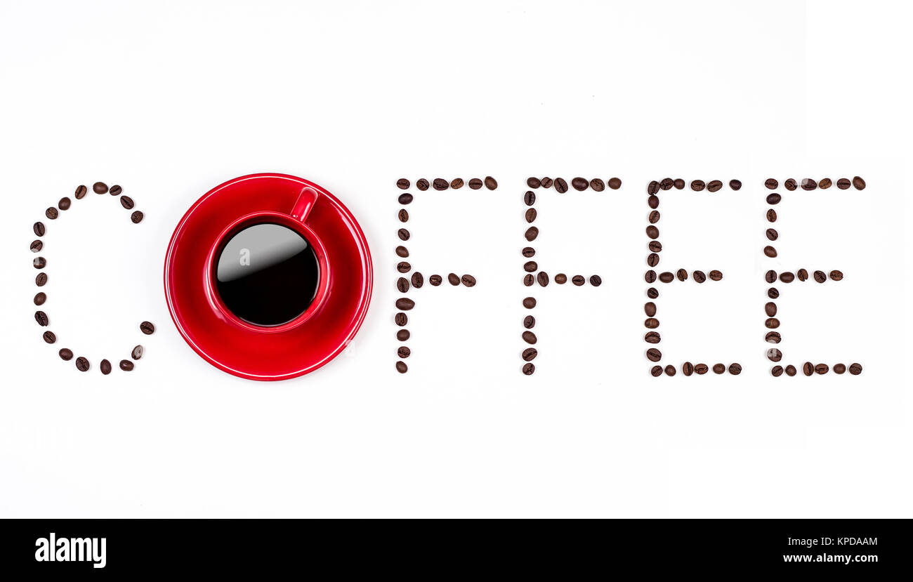 Coffee text with coffeebeans and red cup Stock Photo