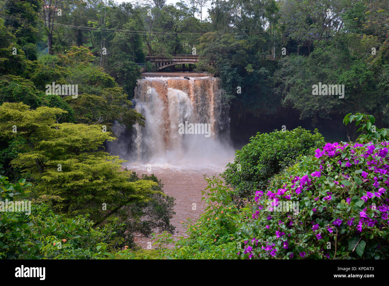 Kenya is a prime tourist destination in East Africa. Famous for wildlife and natural beauty. Chania Falls near Thika. - Stock Image