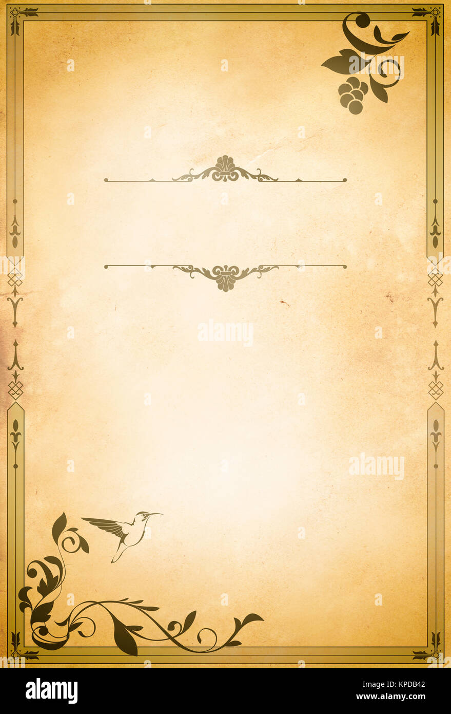 Vintage Paper Background With Decorative Border And Copy Space For Stock Photo 168709858