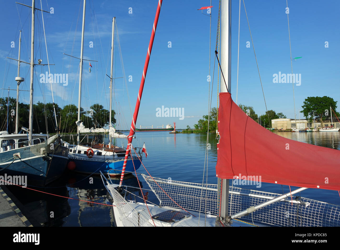 the west pomeranian sailing route,trzebiez Stock Photo