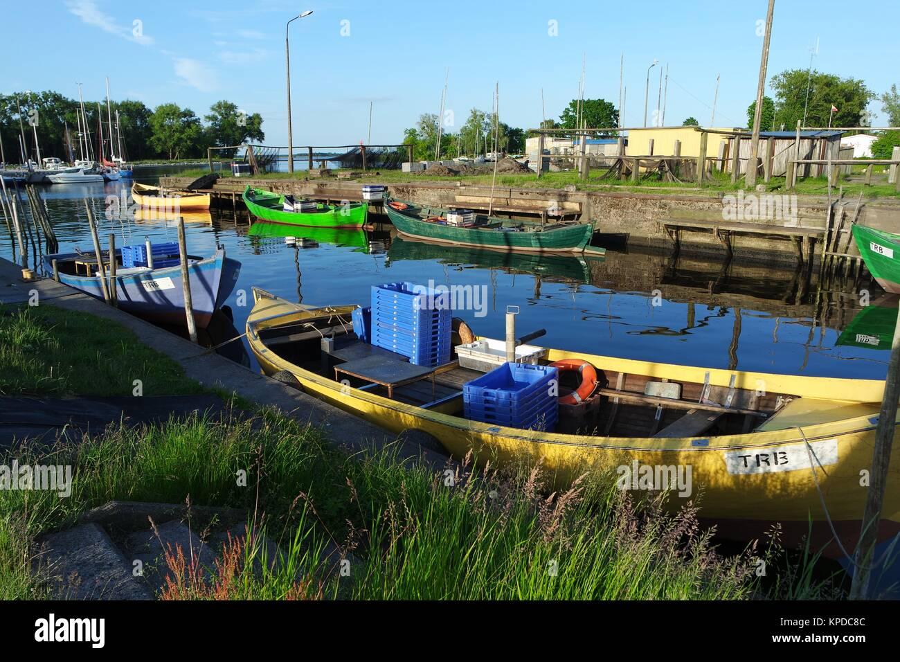 fishing boats on oderhaff Stock Photo