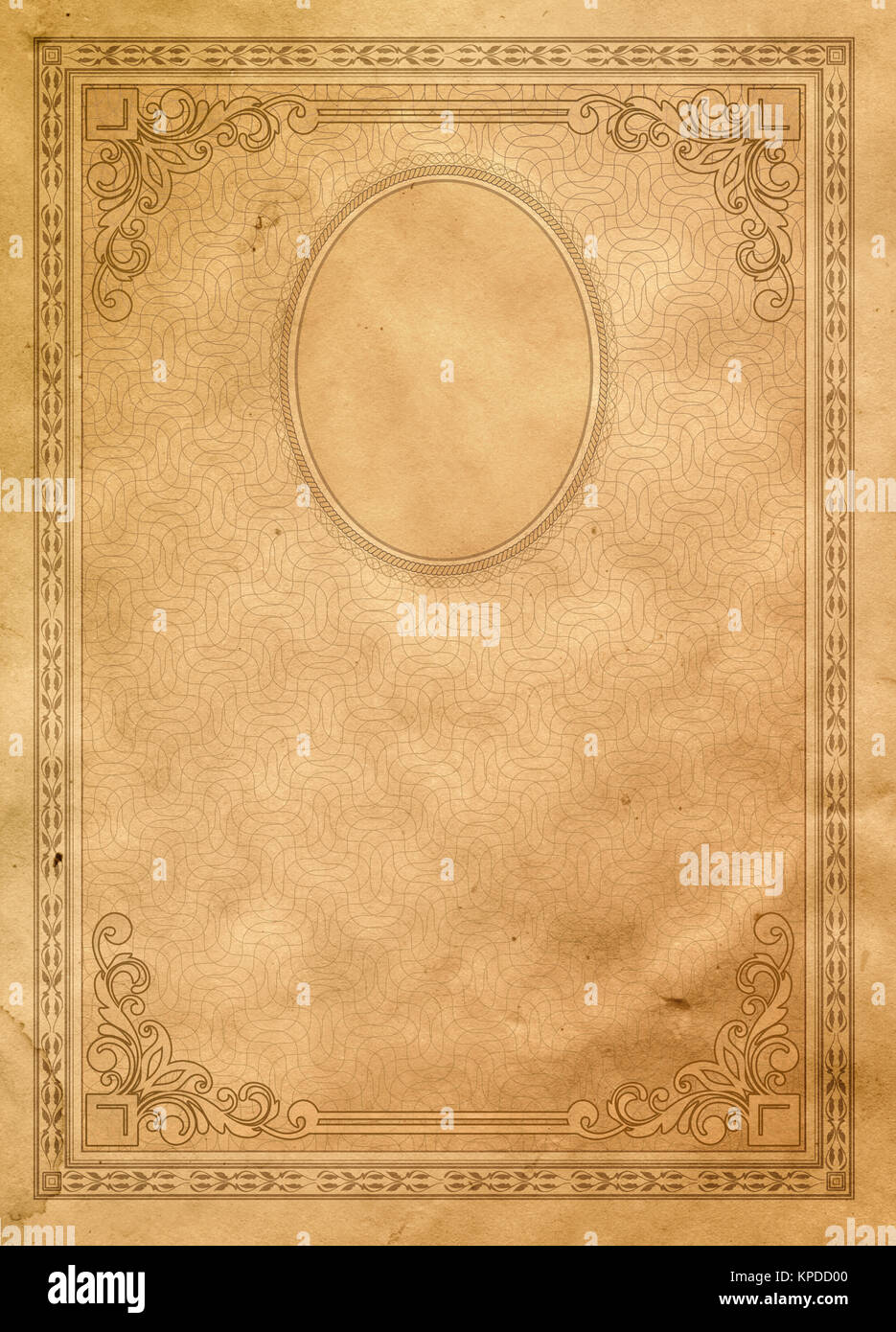 Aging Paper Background With Decorative Old Fashioned Borderelegant