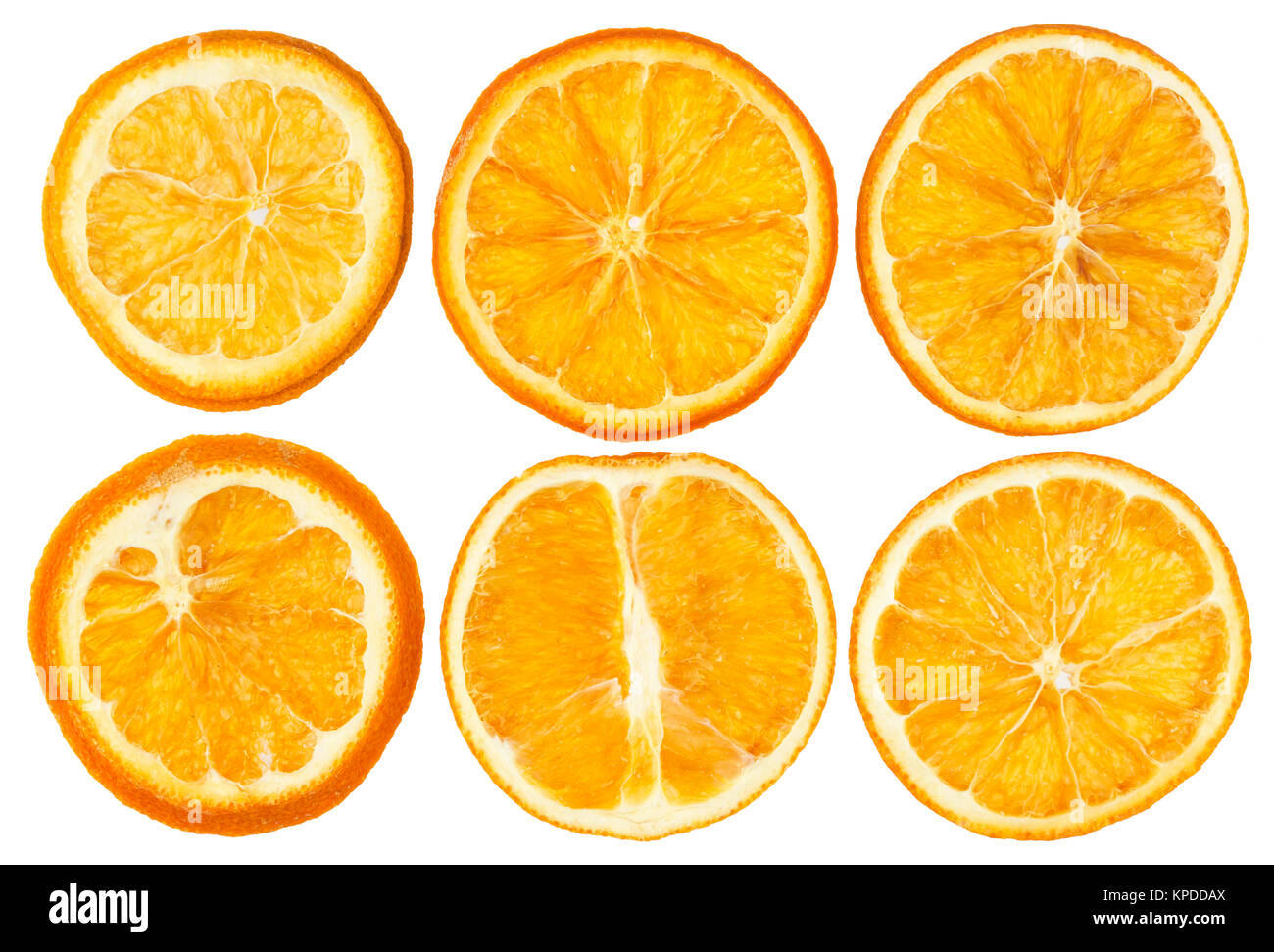 Dried oranges isolated on white background closeup - Stock Image